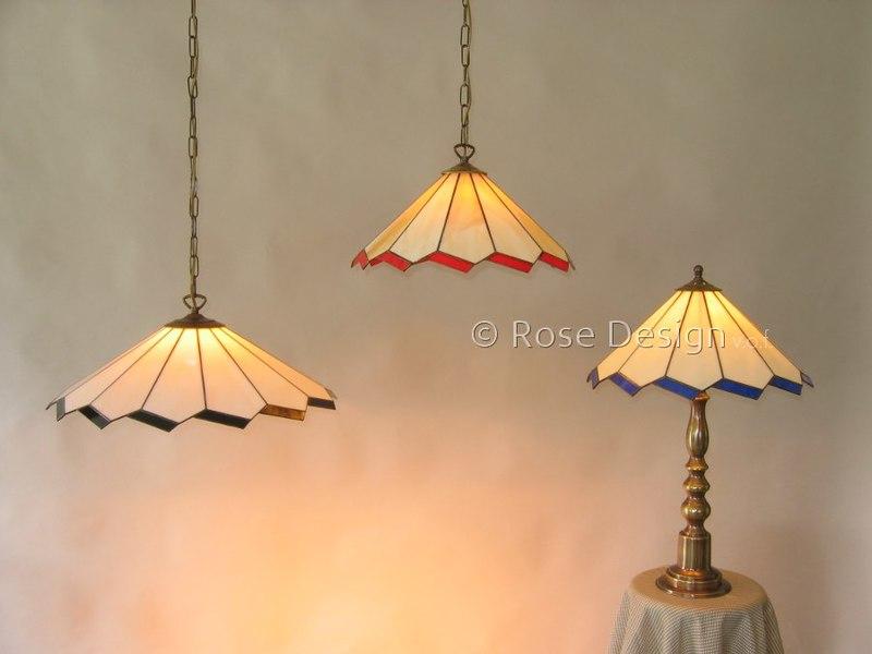 Acanthus 38 & 50 cm. Rose Design Tiffany hang en tafel lampen.