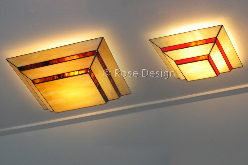 Scala 40x40 en 30x30cm. plafonnières, van Rose Design Tiffany lampen