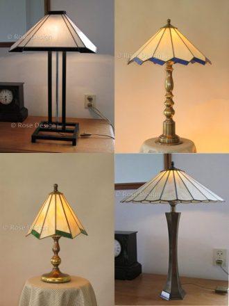 Diverse Tischleuchte, Tiffanylampen van Rose design die gemonteerd zijn om op een tafellamp voet te passen.